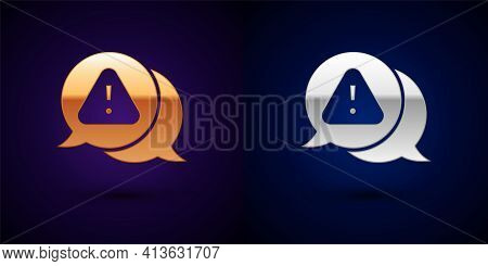 Gold And Silver Exclamation Mark In Triangle Icon Isolated On Black Background. Hazard Warning Sign,