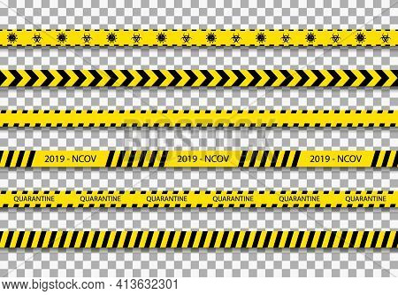 Quarantine Tape. Caution Stripe For Coronavirus Zone. Black Line On Yellow Background For Warning. S