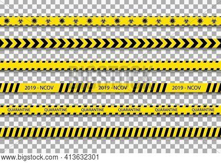 Quarantine Tape. Caution Stripe For Coronavirus Zone. Black Line On Yellow Background For Warning. S