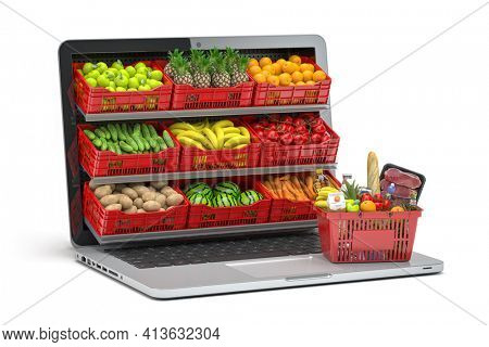 Grocery food buying online and delivery app concept. Food market in laptop. Computer and crates with fruits and vegetables with shopping basket full of food. 3d illustration