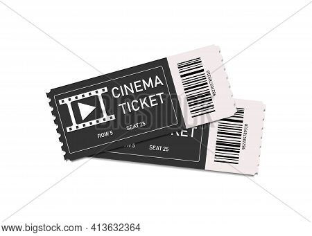 Vintage Movie Tickets. Two Tickets In Cinema Or Theater. Coupon With Admit. Film Concept. Background