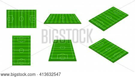 Football Stadium. 3d Soccer Field. Green Football Arena With Perspective View. Isometric Court For S