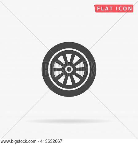Car Wheel Flat Vector Icon. Hand Drawn Style Design Illustrations.