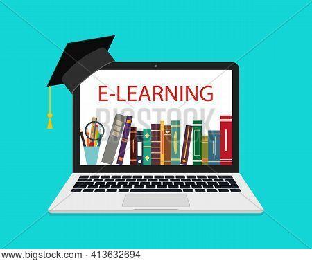 Online Education In Laptop. School Library In Laptop. Online Tutorial Of University. Book On Compute
