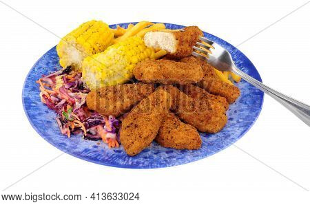Southern Fried Chicken Dippers, Covered In Spicy Breadcrumbs With French Fries And Corn On The Cob M