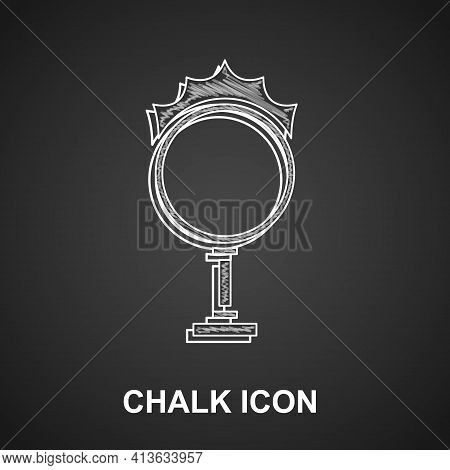 Chalk Circus Fire Hoop Icon Isolated On Black Background. Ring Of Fire Flame. Round Fiery Frame. Vec