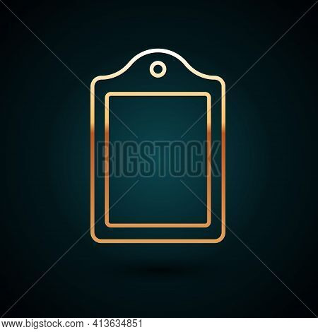 Gold Line Cutting Board Icon Isolated On Dark Blue Background. Chopping Board Symbol. Vector