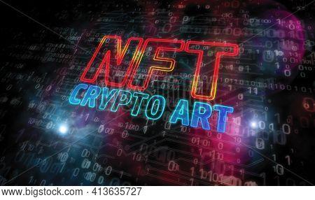 Nft Crypto Art Technology Symbol 3D Illustration