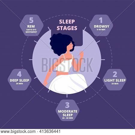 Sleep Cycle. Healthy Biology, Hormones Body Exposure. Sleeping Repeating Diagram, Melatonin Brain Re