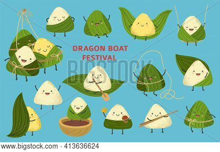 Rice Dumpling Characters. Dragon Boat Festival, Asian Cute Dumplings Food. Chinese Cartoon Zongzi An
