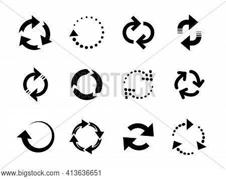 Reload Arrows. Circle Arrow, Connect Or Recycle Digital Icons. Connection Restart Symbols, Isolated