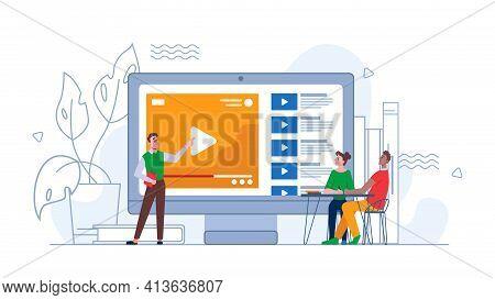 E-earning Video Tutorial Online Seminar Or Webinar