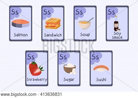 Colorful Alphabet Flashcard Letter S - Salmon, Sandwich, Soup, Soy Sauce, Strawberry, Sugar, Sushi.