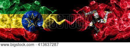 Ethiopia, Ethiopian Vs United Kingdom, Great Britain, British, Isle Of Mann  Smoky Mystic Flags Plac