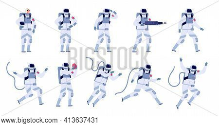 Cartoon Astronaut. Flat Astronauts Group, Astronomy Party Characters. Spaceman Costume Design, Adult