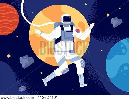 Astronaut In Outer Space. Spacewalk, Astronauts Fantastic Journey. Cosmonaut In Space Suit, Colorful
