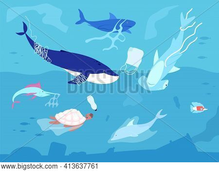 Ocean Plastic Pollution. Sea Plastics, Animal Wildlife And Water Polluted. Marine Animals With Waste
