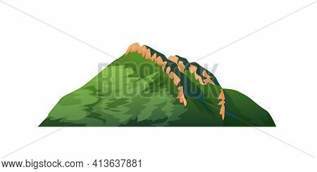 Mountain With Green Forest And Ridge On Peak