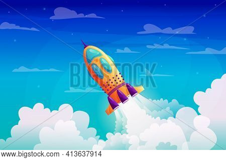 Rocket Launch And Fire Flame, Spaceship Startup