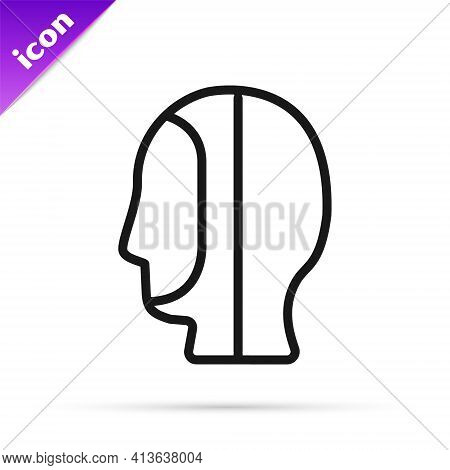 Black Line Diving Hood Icon Isolated On White Background. Spearfishing Hat Winter Swim Hood. Diving