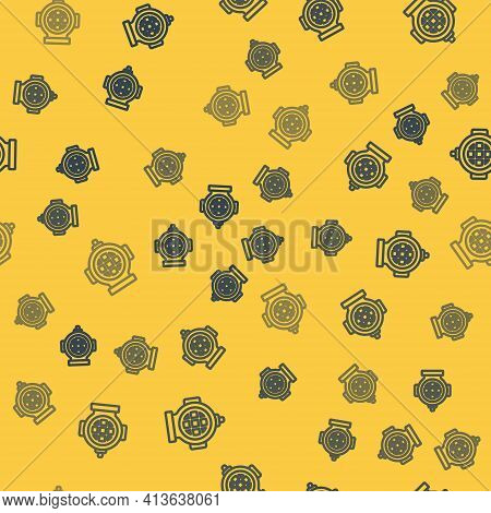Blue Line Aqualung Icon Isolated Seamless Pattern On Yellow Background. Diving Helmet. Diving Underw