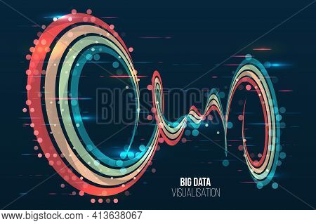 Waves Twisted Array Visual Concept. Big Data Visualization Algorithms. Computer Technology Sorting D