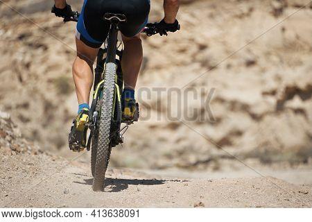 Mountain Bike Sport Athlete Man On A Mountain Bike Trails On Rocky Terrain