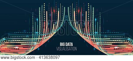 Big Data Visualization. Information Analytics Concept. Abstract Stream Information With Ball Array A