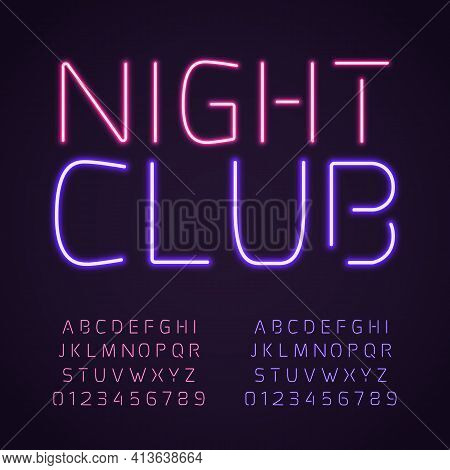 Glowing Club Font. Purple And Pink Neon Lamps Letters And Numbers, Fluorescent Bright Light Typescri