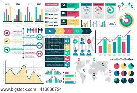 Charts And Diagrams. Graphical Colorful Schemes Infographic, Rising And Falling With Percentages Dat