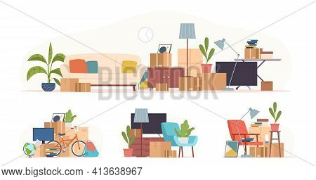 Cartoon Boxes With Things. Moving Home Stacks, Stuff Packaging, Cardboard Parcels And Furniture, Gar
