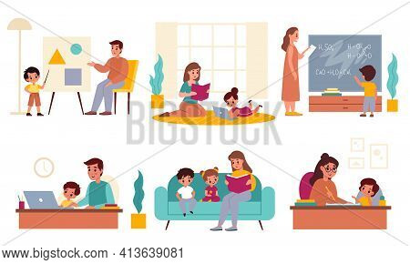 Parents Children Learning. Fathers And Mothers Helping Kids With Homework, Home Studying Process, Mo
