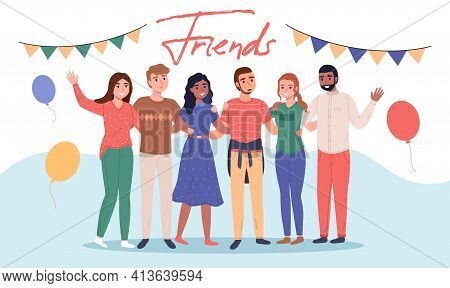 People Hugging Together. Happy Friends Group, Smiling People Standing Together In Each Others Arms,