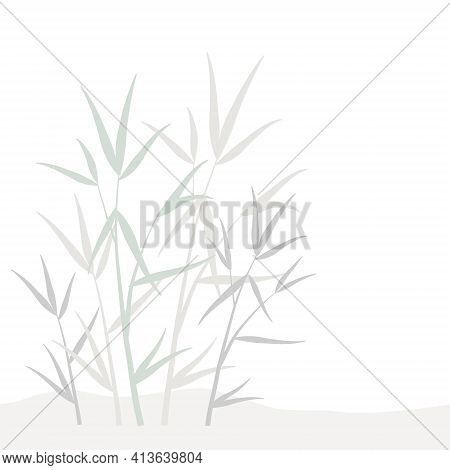 Design Element With Ornamental Organic Floral Pattern Of Gray, Green And Biege Pastel Bamboo Leaves