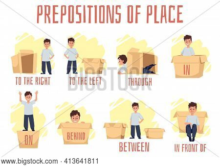 Prepositions Of Place, Banner With Rules English Vocabulary For Preschoolers.