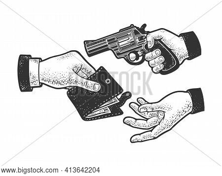 Robbery With A Gun Sketch Engraving Vector Illustration. T-shirt Apparel Print Design. Scratch Board