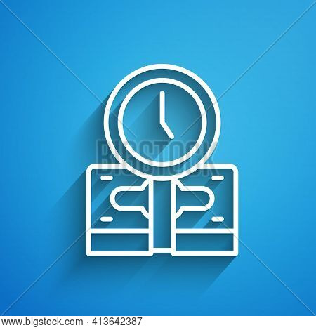 White Line Time Is Money Icon Isolated On Blue Background. Money Is Time. Effective Time Management.