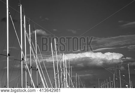 Masts Of Yachts Moored In Yacht Haven Marina Gdynia On Gdansk Bay In Baltic Sea, Gdynia Poland - Mon