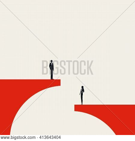 Business Gender Inequality Vector Concept. Symbol Of Pay Gap, Disrimination, Unfair Treatment. Minim