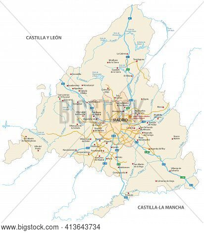 Road Map Of The Community Of Madrid, Spain