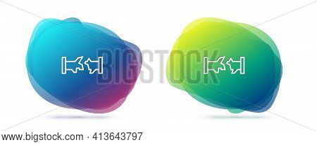 Set Line Broken Metal Pipe With Leaking Water Icon Isolated On White Background. Abstract Banner Wit