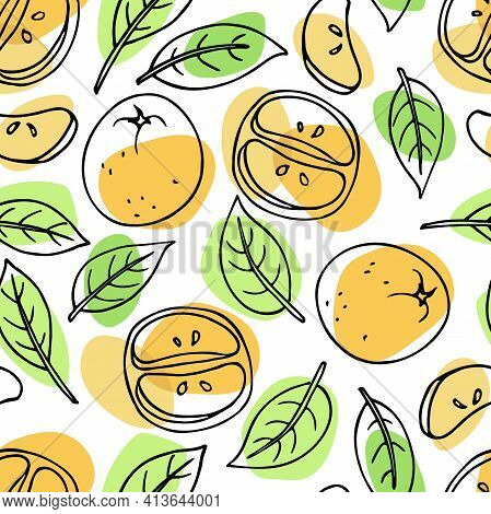 Bright Seamless Pattern With Tangerine Fruit And Leaves. Mandarins Hand Drawn Vector Doodle Sketch W