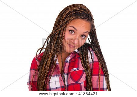 Beautiful Young African American Woman With Long Black Hair