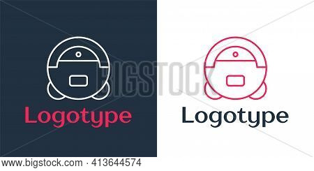 Logotype Line Robot Vacuum Cleaner Icon Isolated On White Background. Home Smart Appliance For Autom