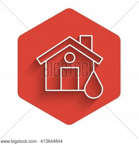 White Line House Flood Icon Isolated With Long Shadow. Home Flooding Under Water. Insurance Concept.