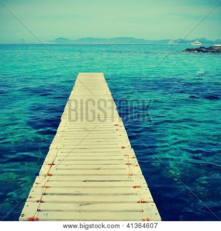 boardwalk in Ses Illetes Beach in Formentera, Balearic Islands