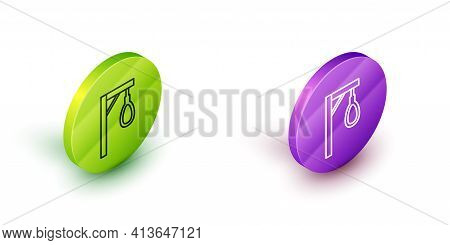 Isometric Line Gallows Rope Loop Hanging Icon Isolated On White Background. Rope Tied Into Noose. Su