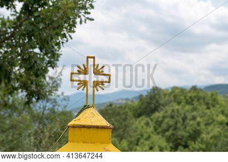 Typical wayside miniature shrine in Greece