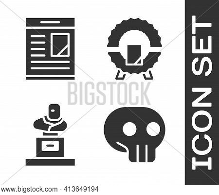 Set Skull, Obituaries, Grave With Tombstone And Memorial Wreath Icon. Vector