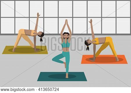 Sporty Women Doing Fitness Exercises On Yoga Mat. Girls Training In Gym. Workout Healthy Lifestyle C